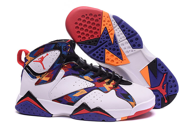2016 Girls Air Jordan 7 Nothing But Net White University Red-Black-Bright Concord