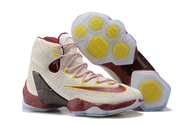 2016 Nike LeBron 13 Elite Cavs White Wine Red Yellow Basketball Shoes