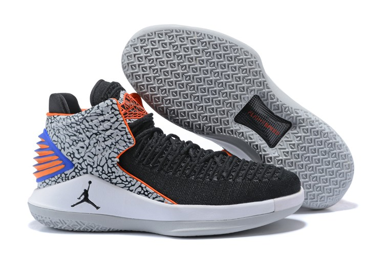 2017 Air Jordan 32 XXXII Mid Black Elephant Print Blue-Orange For Sale