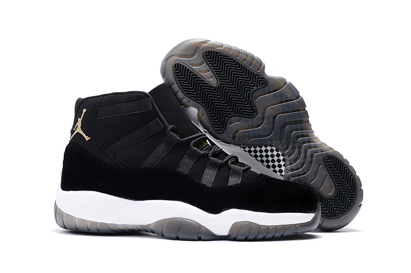2017 Cheap Air Jordan 11 Black Velvet Black White Gold Shoes For Sale