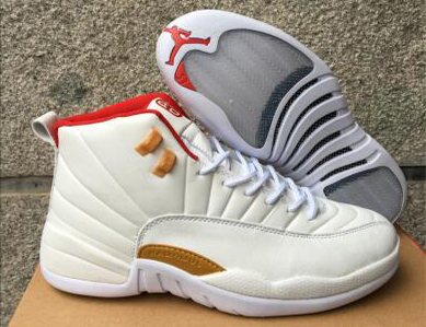 2017 Cheap Air Jordan 12 CNY White Red Gold Shoes for Men