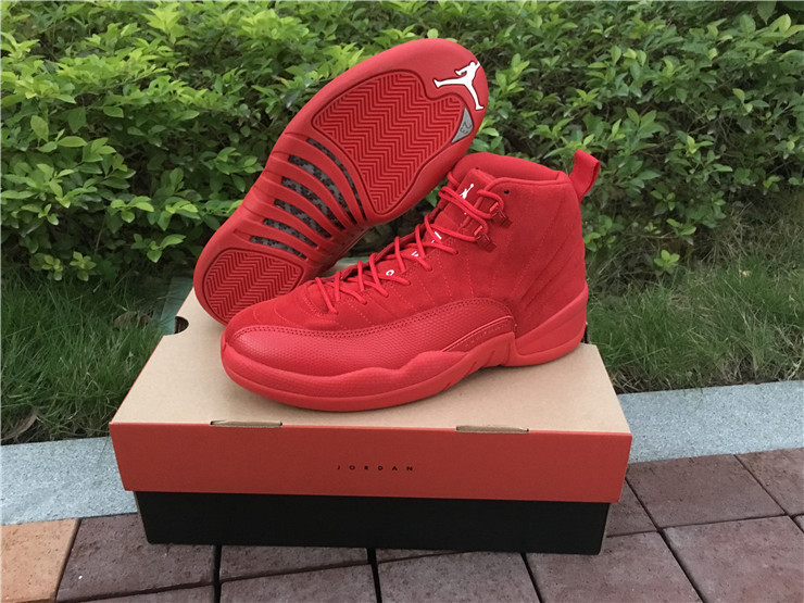 2017 Cheap Air Jordan 12 Premium Red Suede Christmas Red For Sale