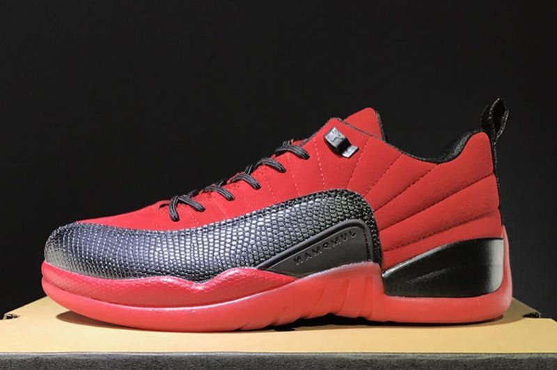2017 Cheap Air Jordan 12 Retro Low Raging Bull Red Suede-Black For Sale