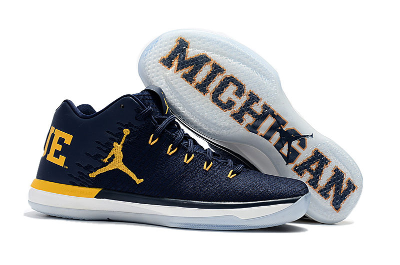 2017 Cheap Air Jordan 31 Low Michigan College Navy Amarillo For Sale
