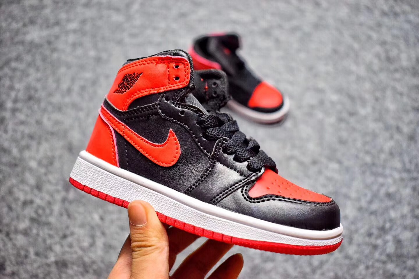 2017 Cheap Kids Air Jordan 1 Banned Black Varsity Red-White For Sale