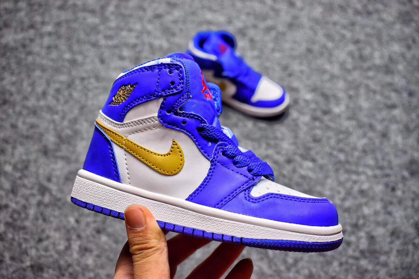 2017 Cheap Kids Air Jordan 1 Royal Blue Metallic Gold-White For Sale