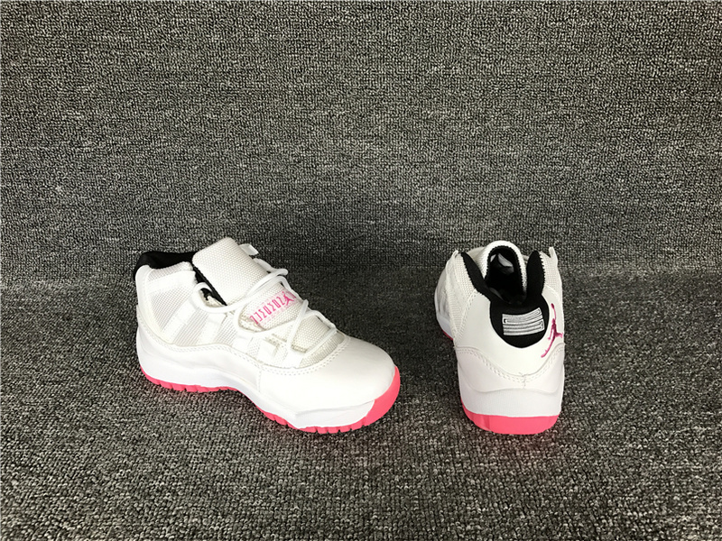 2017 Cheap Kids Air Jordan 11 White Pink Sneakers For Sale