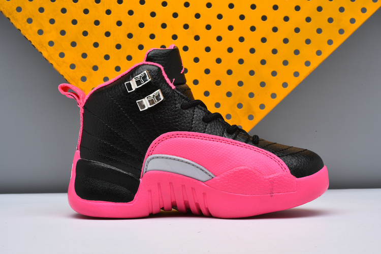 2017 Cheap Kids Air Jordan 12 Black Deadly Pink For Sale