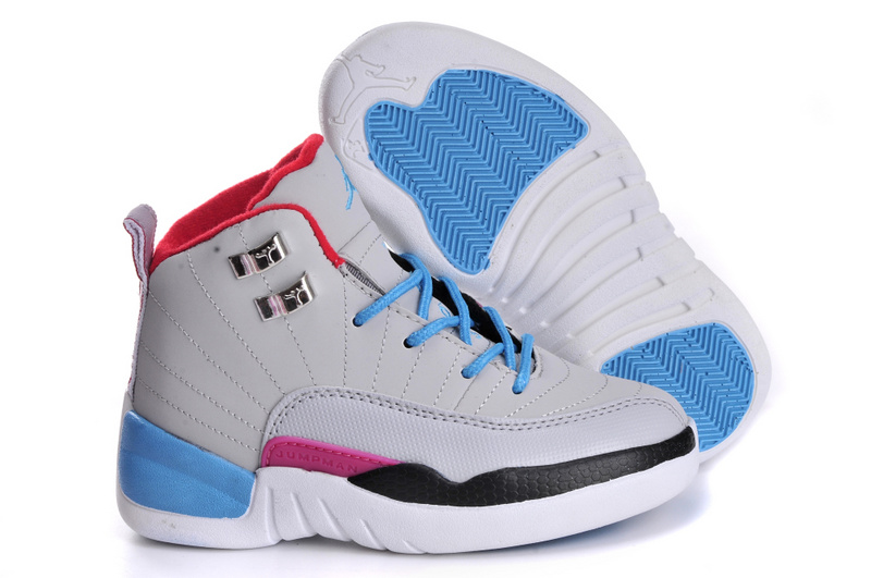 2017 Cheap Kids Air Jordan 12 Miami Vice Grey Blue For Sale