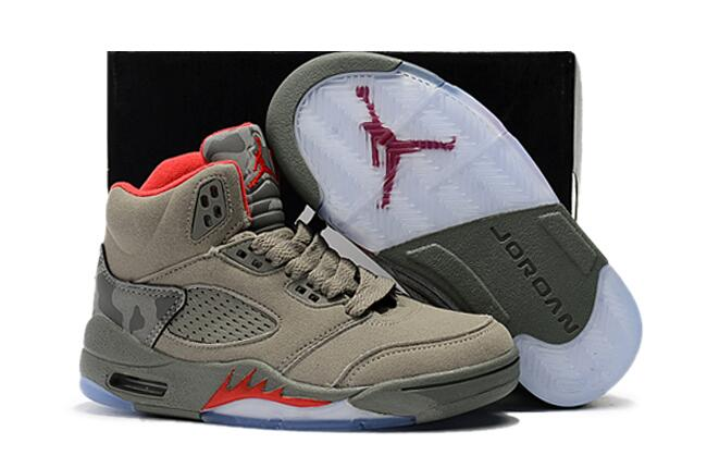 2017 Cheap Kids Air Jordan 5 Camo Dark Stucco Fire Red For Sale