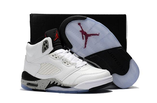 official photos 4274c 26bbd 2017 Cheap Kids Air Jordan 5 Cemen White Black-Univeristy Red For Sale
