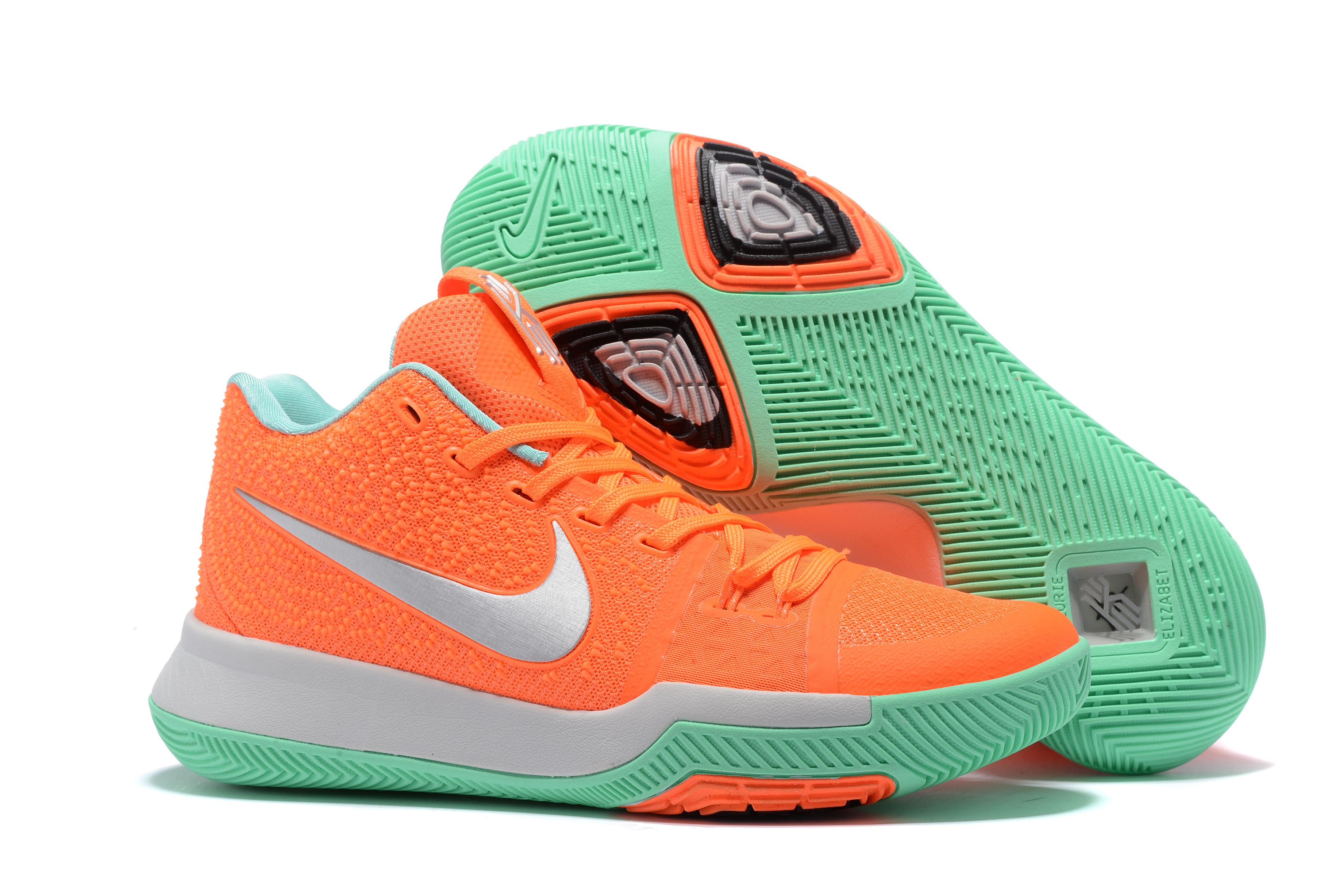 2017 Cheap Kyrie 3 Orange Green Silver Basketball Shoes For Sale