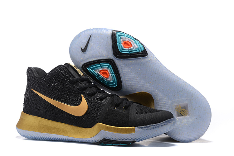 2017 Cheap Nike Kyrie 3 Black Gold Basketball Shoes For Sale