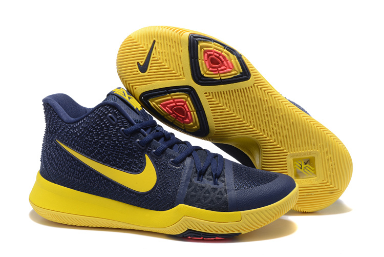 2017 Cheap Nike Kyrie 3 Cavs Blue and Yellow Sneakers for Men