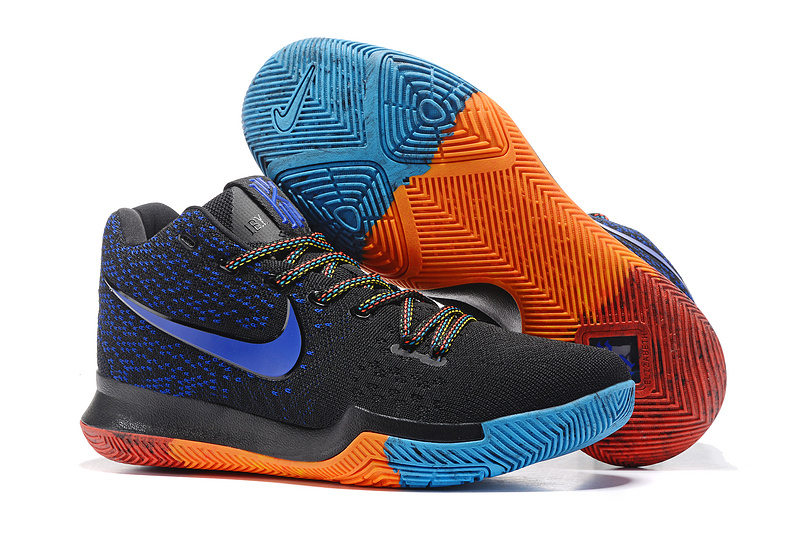 2017 Cheap Nike Kyrie 3 Flyknit BHM Black Royal Blue Red For Sale
