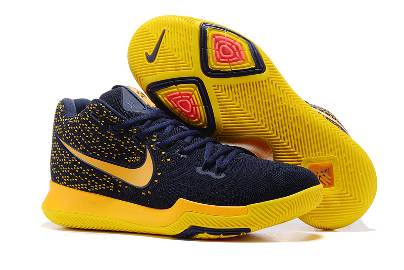 2017 Cheap Nike Kyrie 3 Flyknit Cavaliers Deep Blue Yellow For Sale