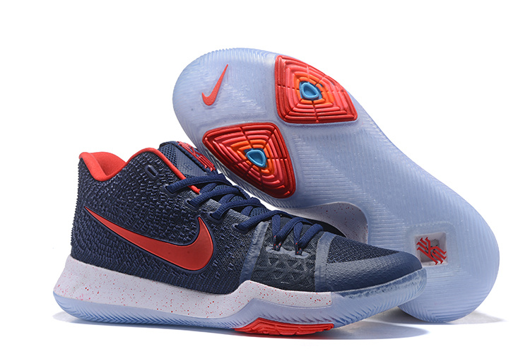 2017 Discount Nike Kyrie 3 Obsidian Blue White-Red Cheap For Sale