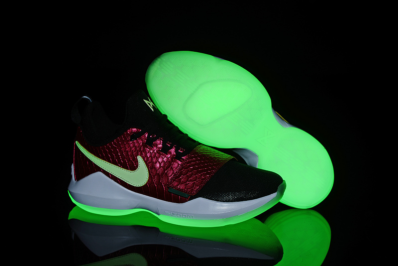 2017 Glow In The Dark Soles Nike Zoom PG 1 Black Wine Red Fish Scales For Sale