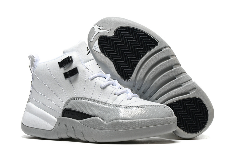 2017 Kids Air Jordan 12 Barons White Black-Wolf Grey For Sale