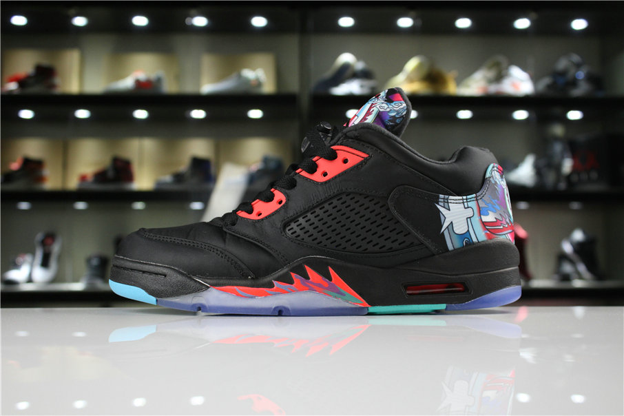 Cheap 2018 Air Jordan 5 Low Chinese New Year Black Bright Crimson-Beta Blue-Black 840475-060