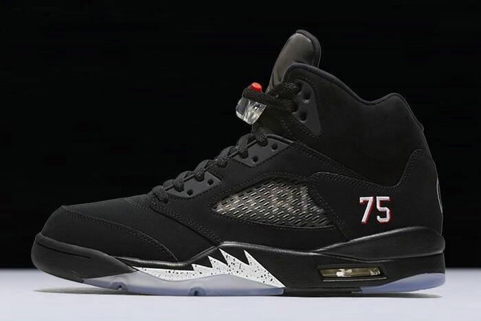 Cheap 2018 Air Jordan 5 Paris Saint-Germain Black White-Challenge Red AV9175-001