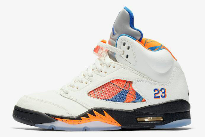 Cheap 2018 Air Jordan 5 Retro International Flight Sail Orange Peel-Black-Hyper Royal 136027-148