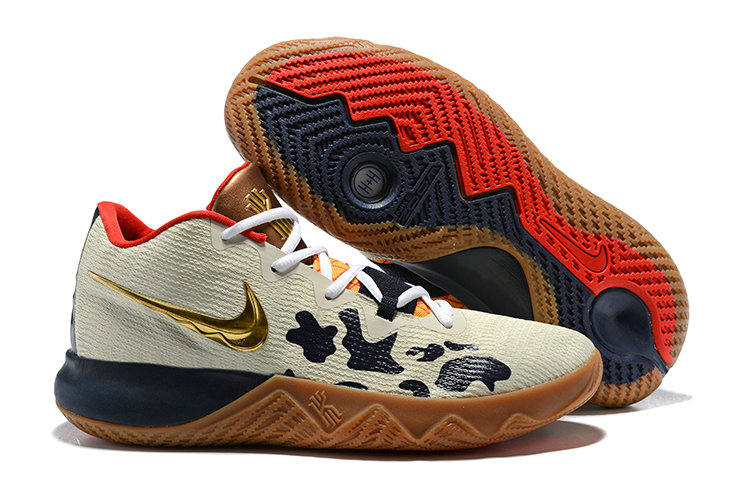 2018 Cheap Nike Kyrie Irving Flytrap Gold Cream Red Navy Blue