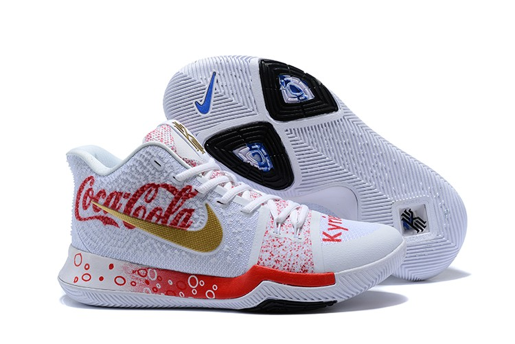2018 Custom Nike Kyrie 3 Coca-Cola White Red Blue For Sale