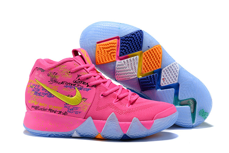 2018 Nike Kyrie Shoes x Cheap Kids Kyrie 4 What The Pink Teal Christmas