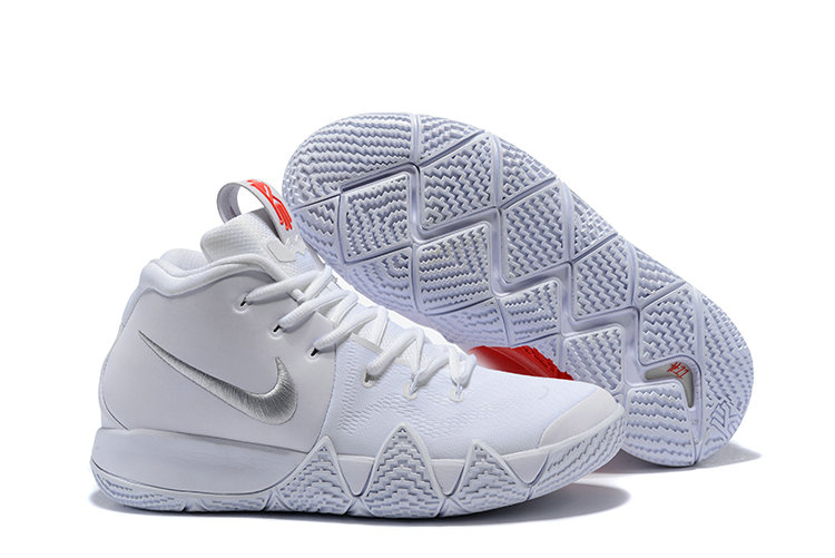 2018 Nike Kyrie Shoes x Cheap Nike Kyrie 4 Triple White Red Silver