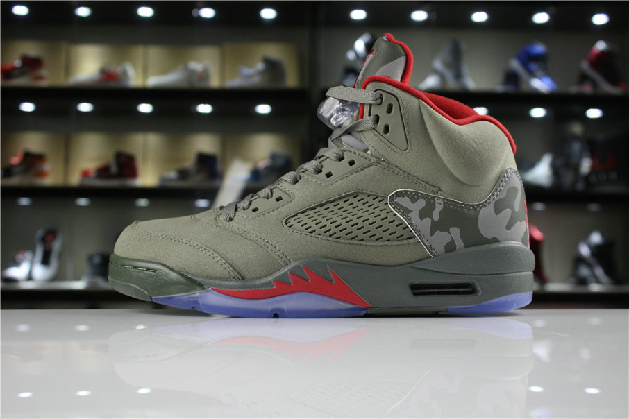 Cheap 2018 Mens Air Jordan 5 Camo Dark Stucco University Red 136027-051