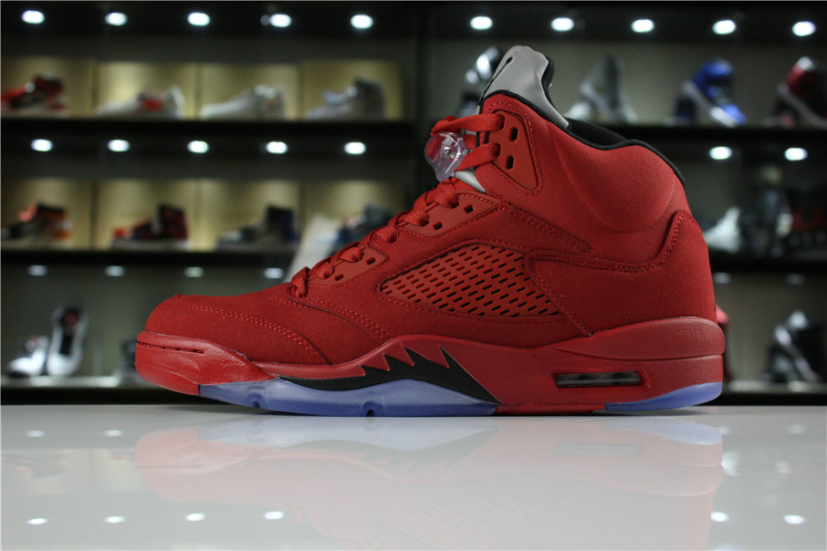 Cheap 2018 Mens Air Jordan 5 Red Suede University Red Black 136027-602