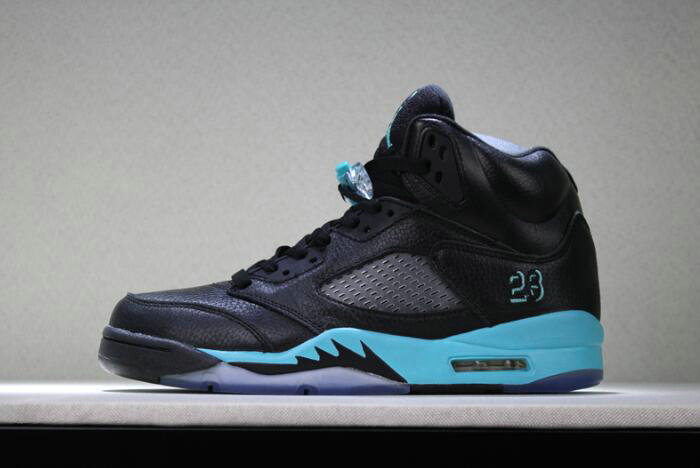 Cheap 2018 New Air Jordan 5 Black Green Mens Basketball Shoes