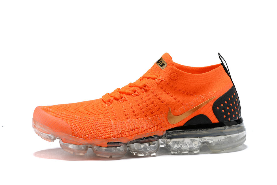 48309b28c6807 2018 Nike Air VaporMax flyknit 2.0 SneakerBoots Orange Gold Black Cheap Sale