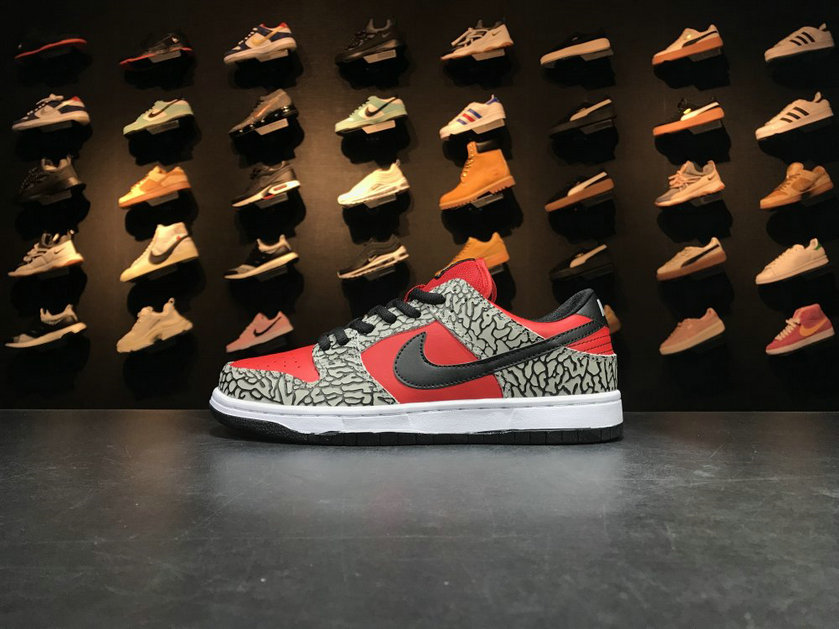 2018 Nike SB Dunk x Cheap Nike Dunk Low Premium SB Supreme Grey Red Black Gris Rouge Noir