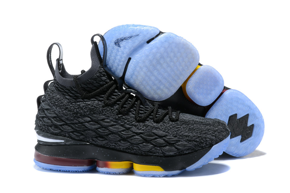 2018 Nike Lebron Shoes x Cheap Nike Lebron 15 Dark Grey Yellow White Wine