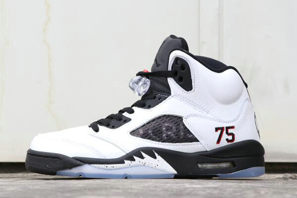 Cheap 2018 PSG x Air Jordan 5 Friends and Family White Black For Sale