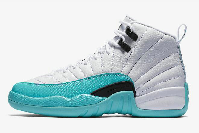 Cheap 2018 WMNS Air Jordan 12 Retro GS White Light Aqua-Black Shoes 510815-100
