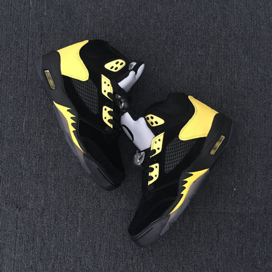 2018 Cheapest Sale Nike Air Jordans 5 (V) Oregon PE Black Gold For Mens