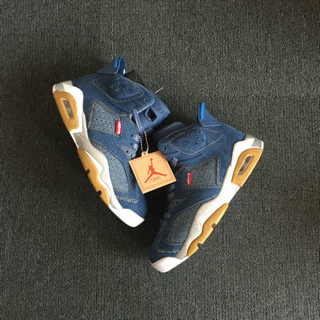 2018 Cheapest Sale Nike Air Jordans 6 (VI) Retro Levis Blue Gold Suede For Mens