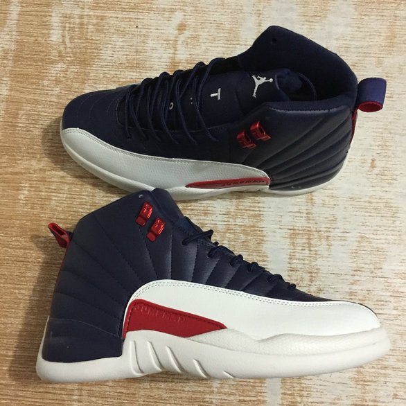 2018 Cheapest Sale Nike Air Jordans 12 (XII) Retro White Navy Blue Red For Mens