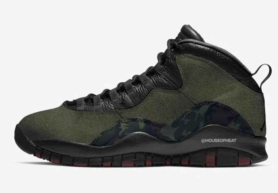 2019 Cheap Nike Air Jordan 10 Woodland Camo Medium Olive Black-Dark Army-Dark Cinder 310805-201