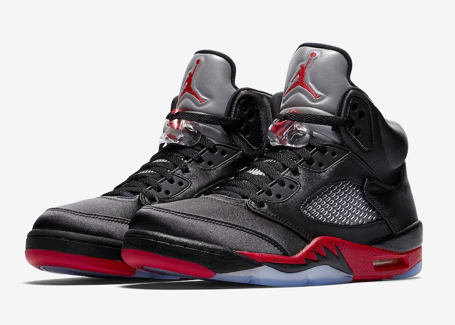 2019 Cheap Nike Air Jordan 5 Satin Black University Red 136027-006