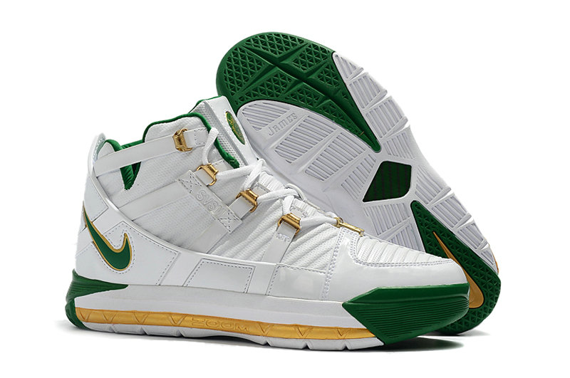 2019 Cheap Nike Zoom LeBron 3 QS SVSM Home White-Deep Forest-Gold Dust AO2434-102