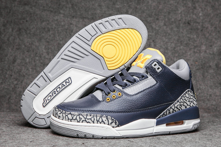 2019 Restock Cheap Nike Air Jordan 3 Navy Blue Grey White