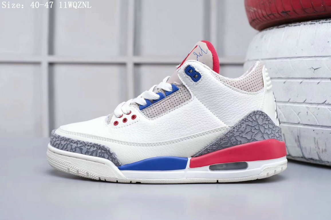 2019 Restock Cheap Nike Air Jordan 3 White Blue Pink Grey