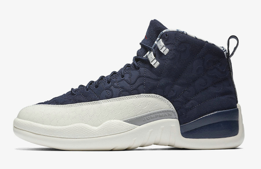 2019 Where To Buy Cheap Nike Air Jordan 12 International Flight College Navy Sail-University Red BV8016-445