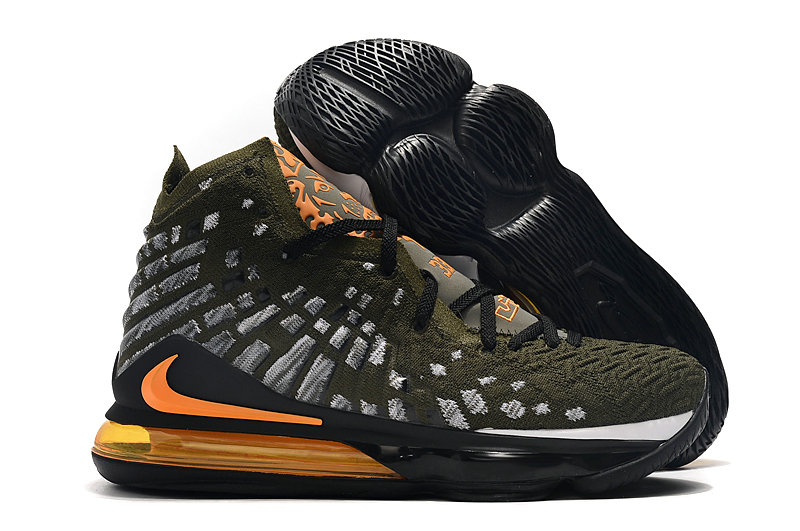2019 Where To Buy Cheap Nike Lebron 17 Army Green Grey Black Total Orange