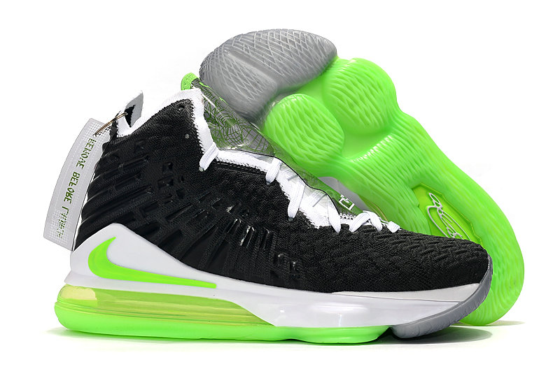 2019 Where To Buy Cheap Nike Lebron 17 Black White Grass Green