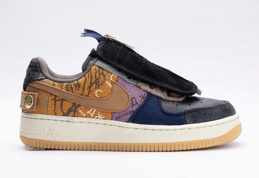 2019 Where To Buy Cheap Travis Scott x Nike Air Force 1 Low Multi-Color Muted Bronze-Fossil CN2405-900